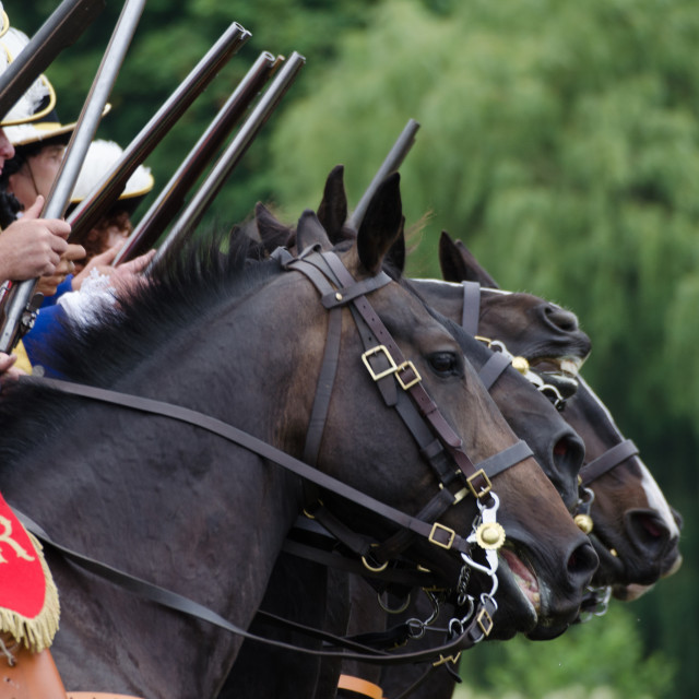 """English Civil War Cavaliers on horseback"" stock image"