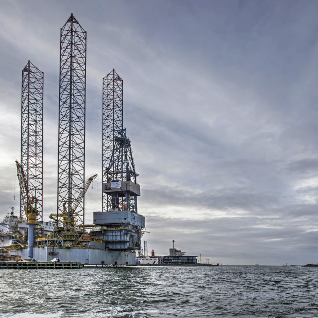 """Offshore plaform in IJmuiden harbour"" stock image"