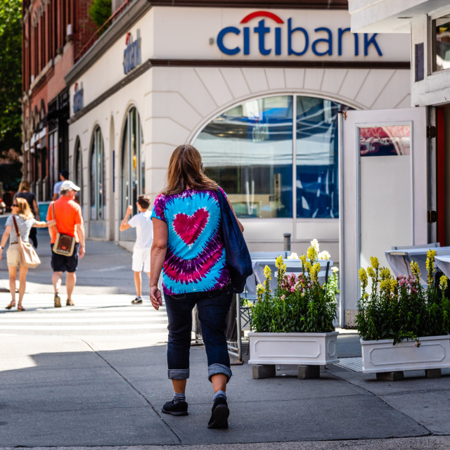 """""""People walking on the street near citybank offices"""" stock image"""