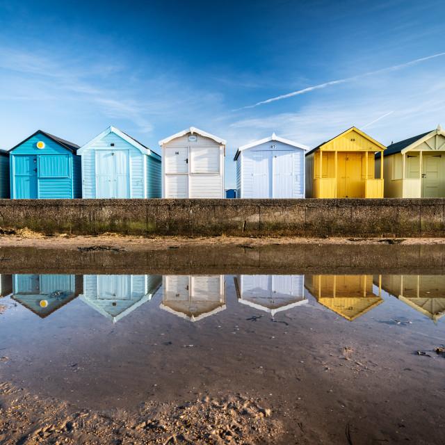 """Beach hut reflections"" stock image"