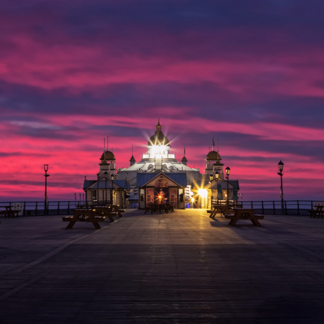 """Eastbourne Pier, Winter Blue Hour"" stock image"