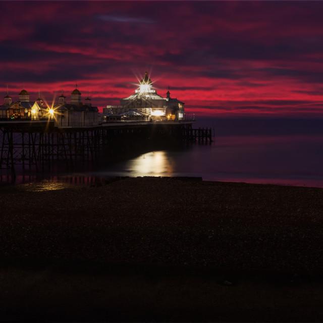 """Eastbourne Pier, Winter Blue Hour"" stock image"
