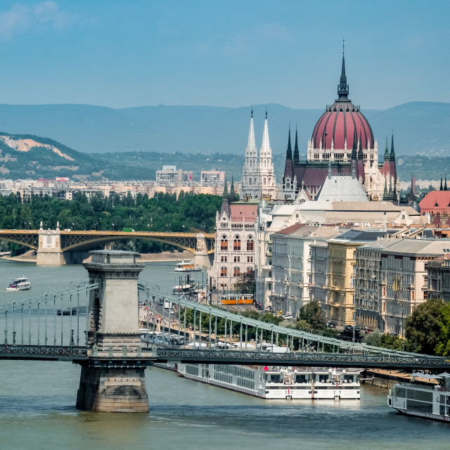 """Chain Bridge and Parliament Building in Budapest"" stock image"