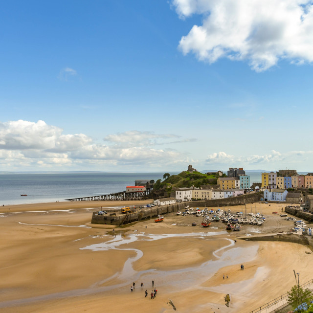 """""""Beach and harbour at low tide in Tenby, West Wales"""" stock image"""
