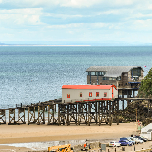"""""""The old and new lifeboat stations in Tenby, West Wales"""" stock image"""