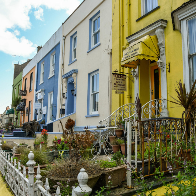 """""""Row of guest houses in Tenby, West Wales."""" stock image"""