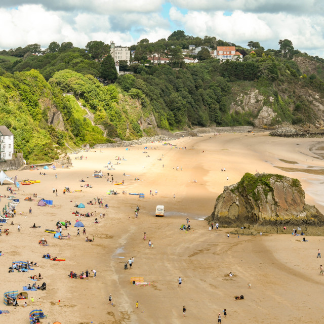 """""""North Beach in Tenby, West Wales at low tide."""" stock image"""