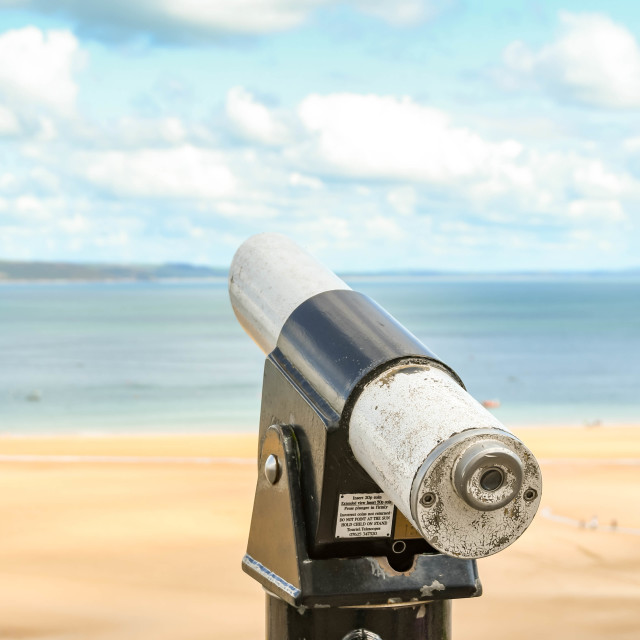 """""""Coin-operated binoculars in Tenby, West Wales."""" stock image"""