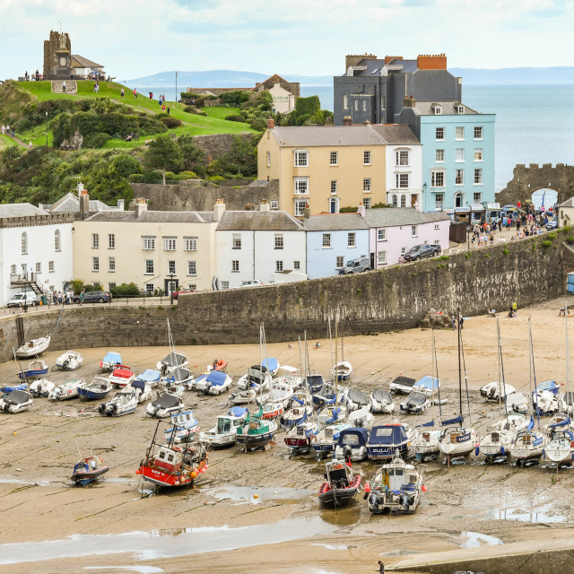 """""""The harbour in Tenby, West Wales at low tide"""" stock image"""