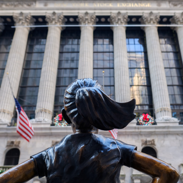 """""""The Fearless Girl statue facing The New York Stock Exchange NYSE"""" stock image"""