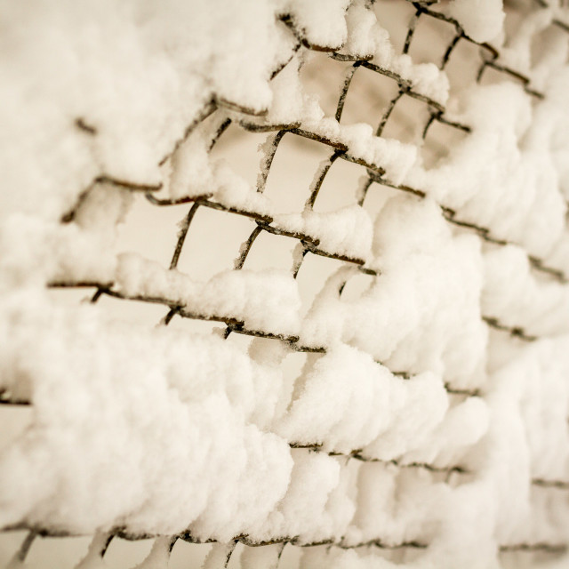 """Snow-laden Fence"" stock image"