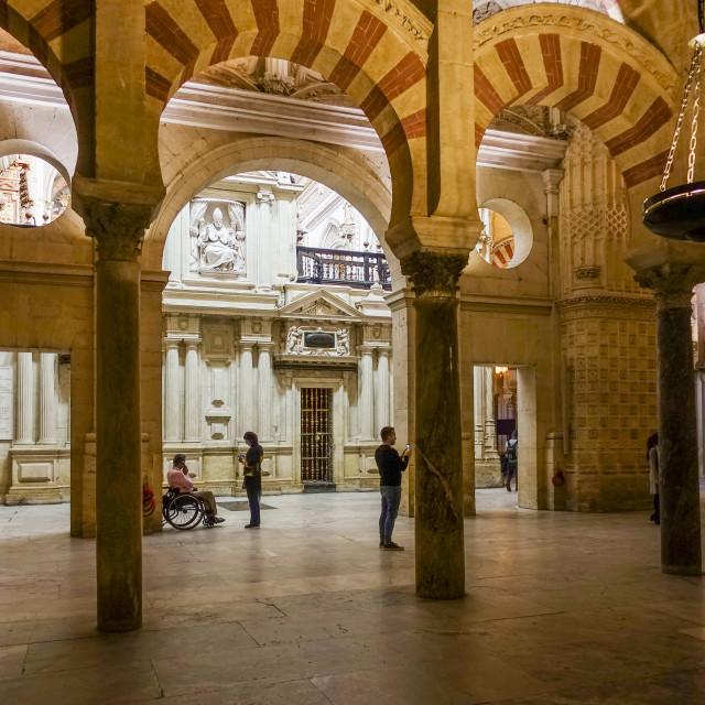 """Interior of La mezquita, mosque Cordoba, Southern Spain"" stock image"