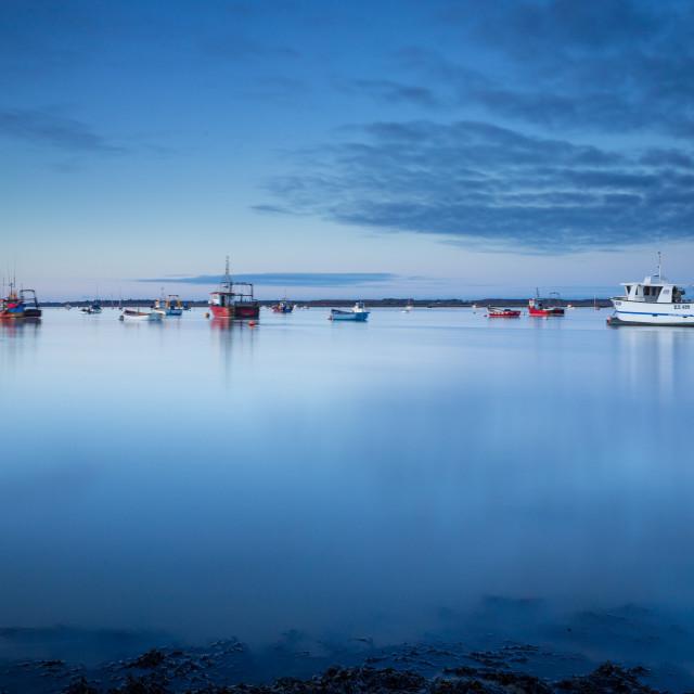 """Blue Hour, River Deben, Suffolk"" stock image"