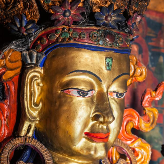 """Maitreya Buddha in library of Thiksey Gompa. Ladakh, India"" stock image"