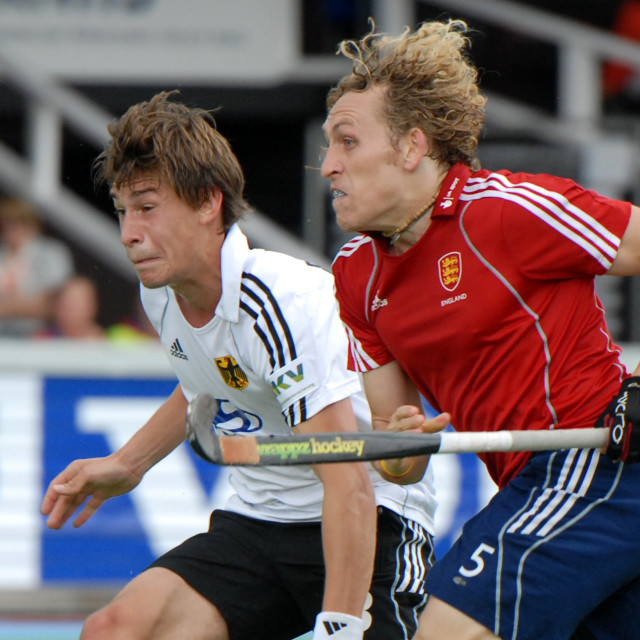"""Hockey - 4 nations Cup England - Germany 2-7-2011 Amstelveen NL"" stock image"