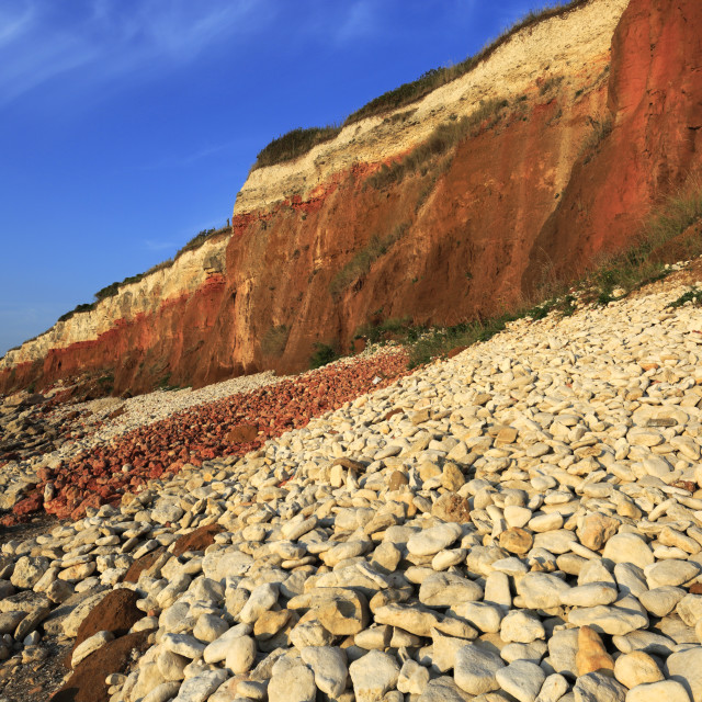"""The Brownstone and Chalk Cliffs; Hunstanton town; North Norfolk Coast;..."" stock image"
