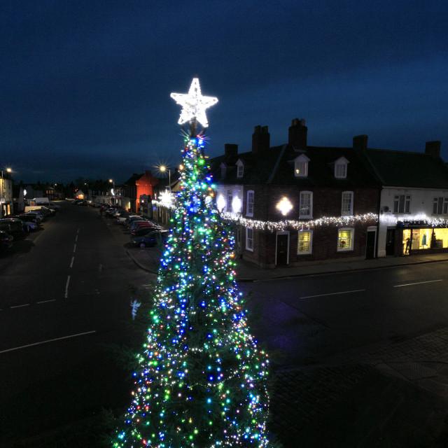 """Christmas lights and tree, Trinity Bridge, a 14th Century three-way stone..."" stock image"