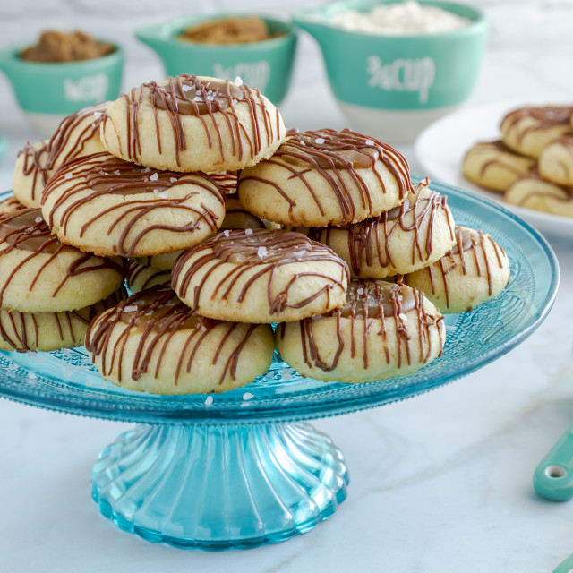 """""""Salted caramel cookies drizzled with chocolate"""" stock image"""