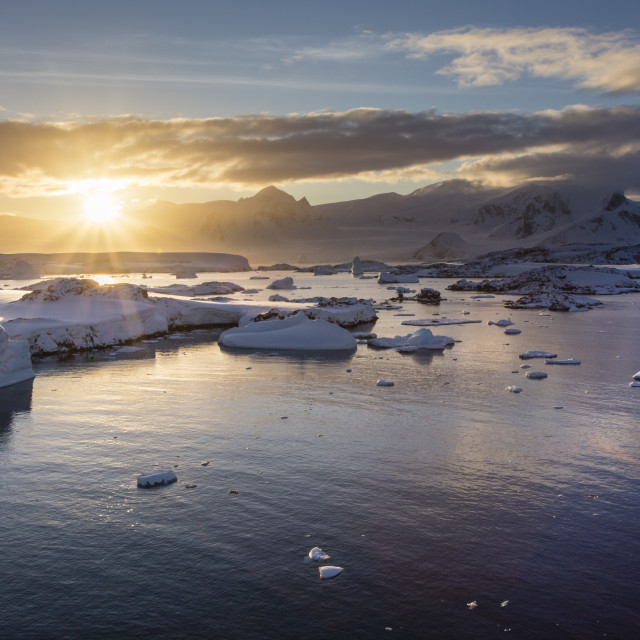 """Antarctic sunrise"" stock image"