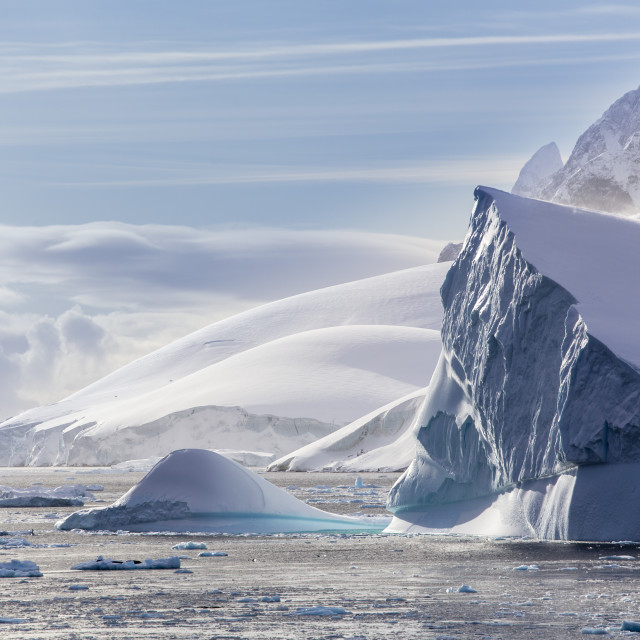 """Icebergs and Western Antarctic Peninsula"" stock image"