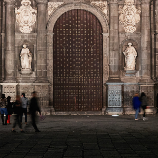 """Tourists in front the main gate of Puebla Cathedral"" stock image"
