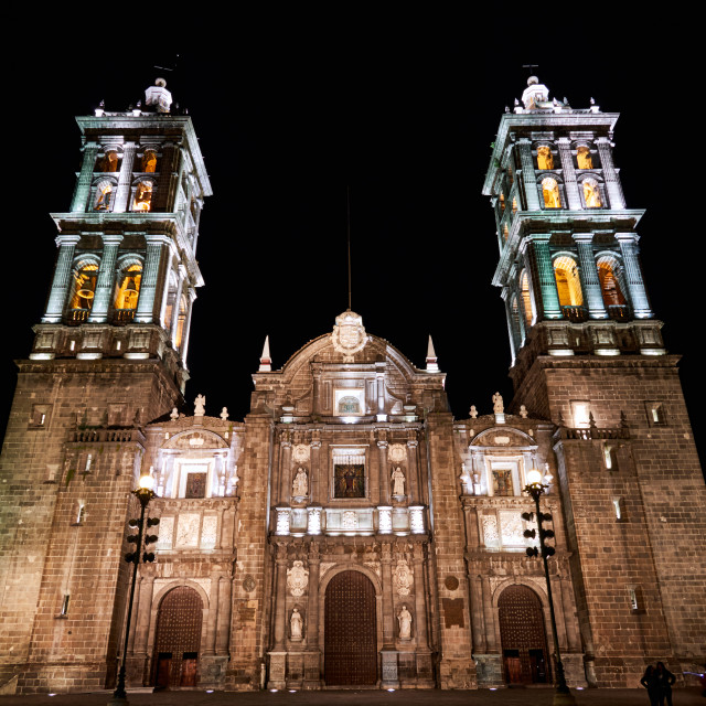 """Cathedral of puebla at night"" stock image"