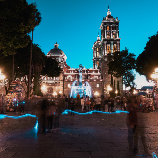 """""""The main square in Zocalo of Puebla"""" stock image"""