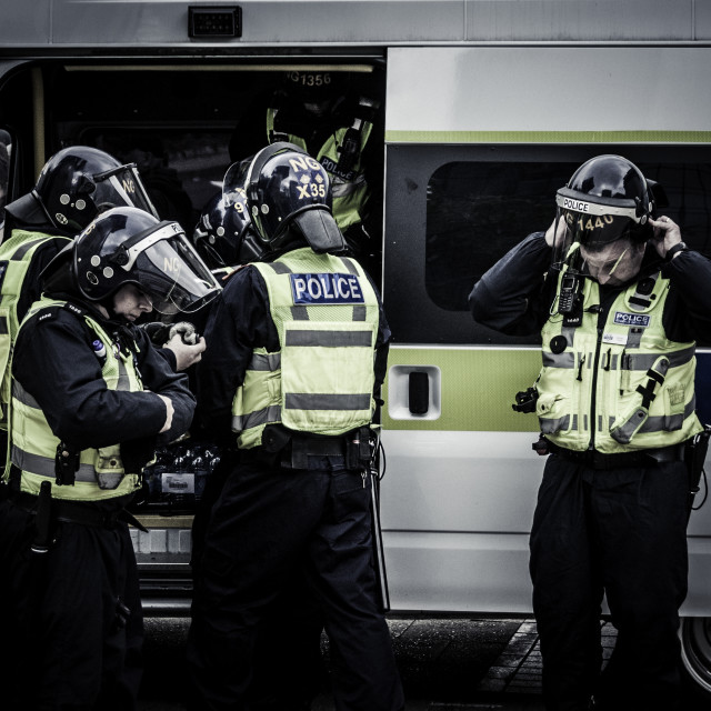 """""""British Police in riot gear"""" stock image"""
