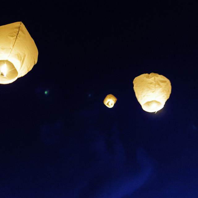 """""""Chinese Lanterns at night"""" stock image"""