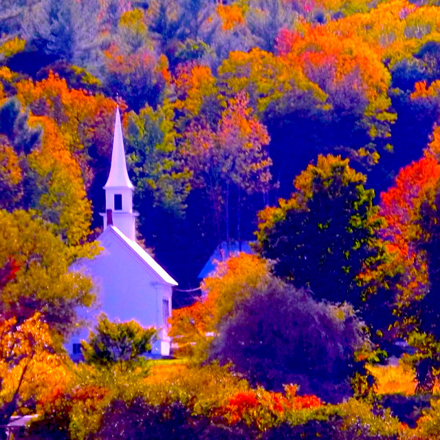 """Little White Church in Fall Foliage in New England"" stock image"