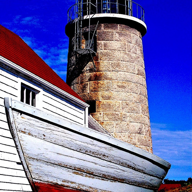 """LIGHT HOUSE MONHEGHAN ISLAND MAINE"" stock image"