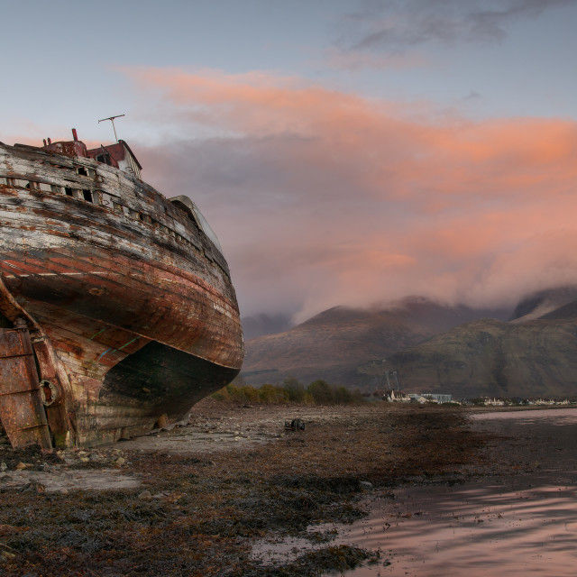 """Old Boat on Coal Bay"" stock image"