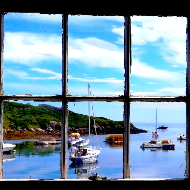 """THROUGH THE WINDOW TO THE HARBOR"" stock image"