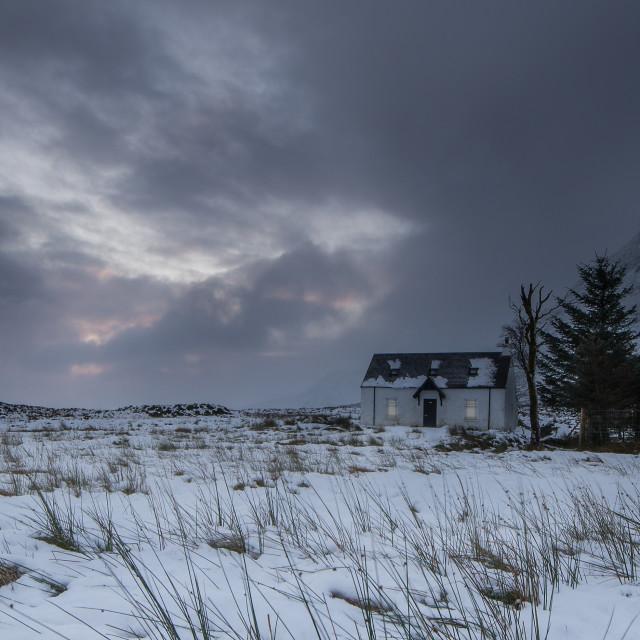 """""""Mountinering Cottage Glencoe"""" stock image"""