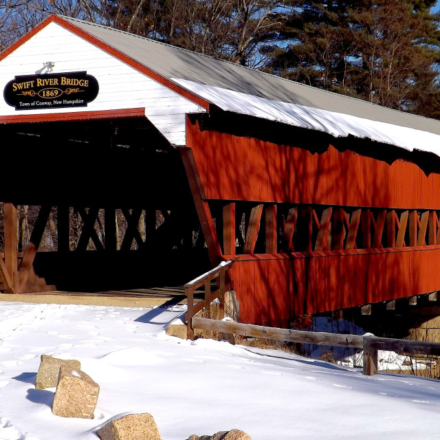 """SWIFT RIVER COVERED BRIDGE IN WINTER"" stock image"