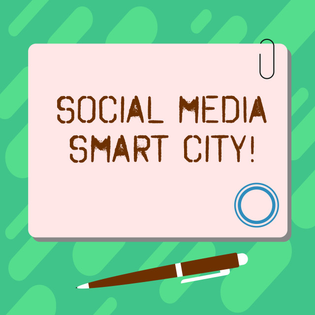 """Handwriting text Social Media Smart City. Concept meaning Connected..."" stock image"