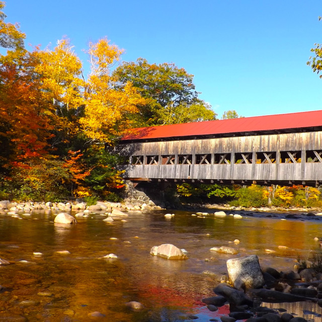 """Albany Covered Bridge over Swift River"" stock image"