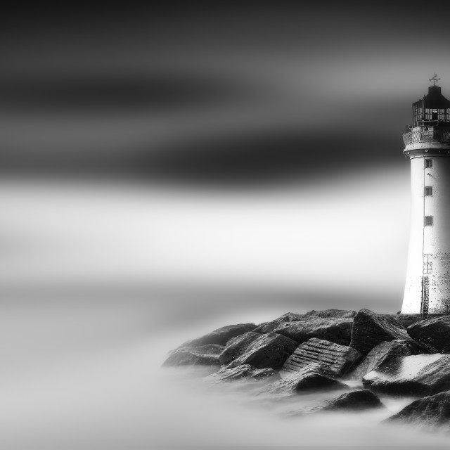"""New Brighton Lighthouse on the Rocks"" stock image"