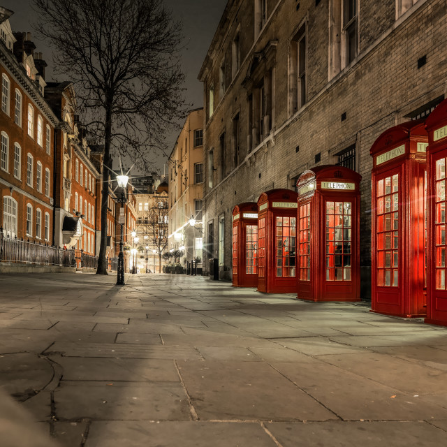 """""""Broad Court Red Phone Boxes"""" stock image"""