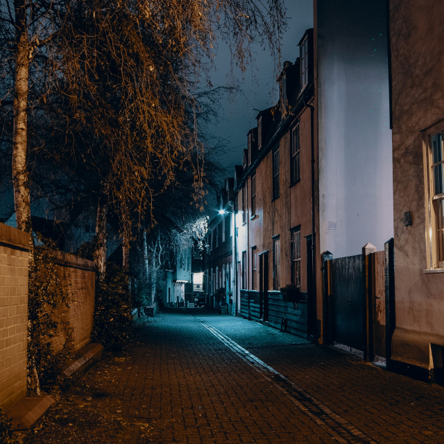 """Old Harwich By Night -Castlegate Street"" stock image"