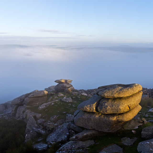 """A Mist Shrouded Stowe's Hill on Bodmin Moor, Cornwall, UK"" stock image"