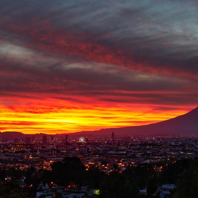 """Puebla city and volcano Popocatepetl, Mexico"" stock image"