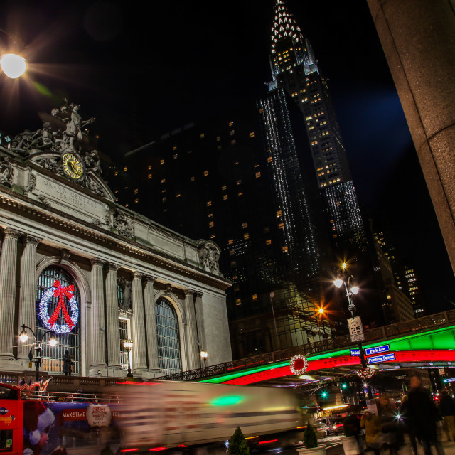"""""""Beautiful evenings with street lights near Grand Central Termina"""" stock image"""