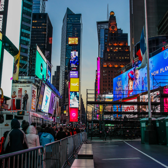 """""""Beautifull evenings with street lights on Times Square"""" stock image"""