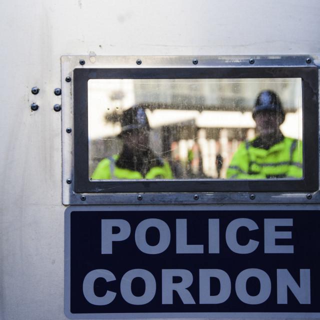 """British Police Barricade"" stock image"
