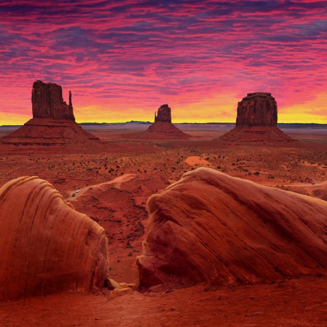 """Sunrise over Monument Valley Tribal Park in Utah-Arizona border, USA"" stock image"