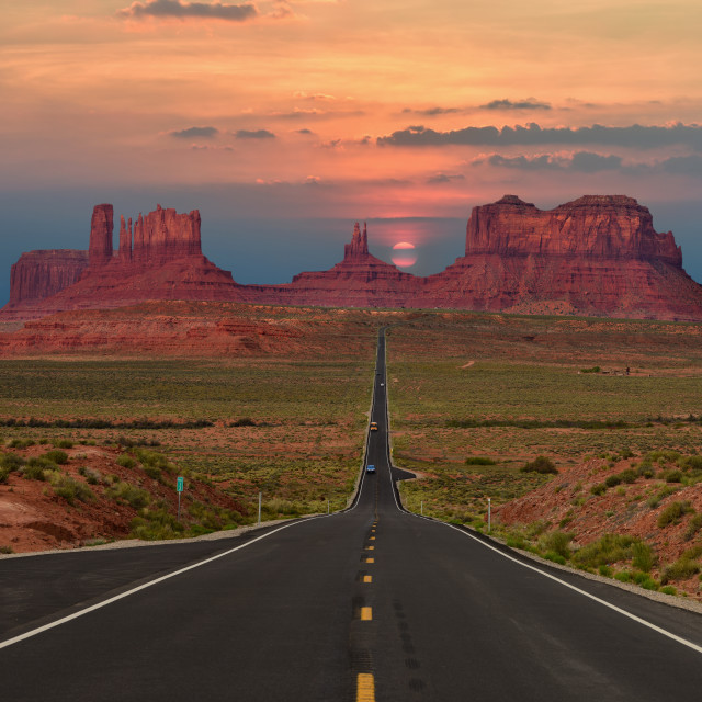 """Scenic highway in Monument Valley Tribal Park in Arizona-Utah border, U.S.A."" stock image"
