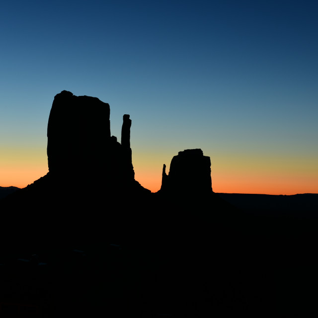 """Sunrise over Monument Valley Tribal Park in Utah-Arizona border, USA"" stock image"