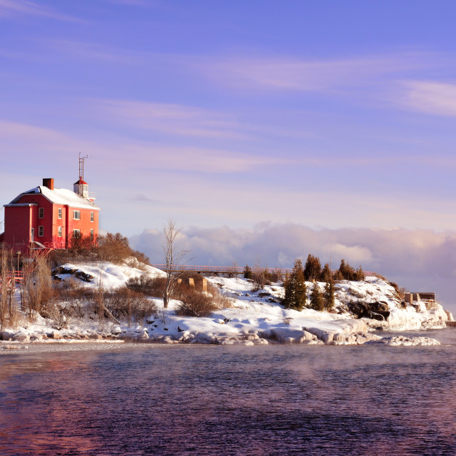 """""""The Historic Marquette Harbor Lighthouse On Lake Superior, Michigan's Upper Peninsula"""" stock image"""