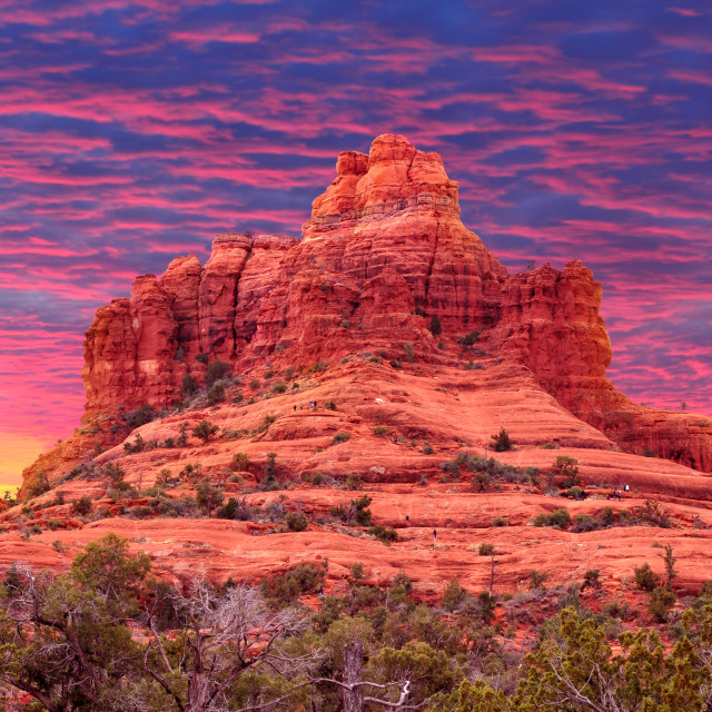 """Colorful sunset at Bell Rock in Sedona, Arizona USA"" stock image"